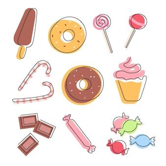Zestaw słodyczy i cukierków na białym tle