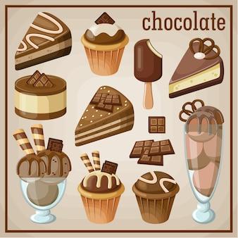 Zestaw słodyczy i czekolady. ilustracji wektorowych