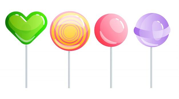 Zestaw słodyczy na białym tle - twardy cukierek i baton, cukrowa laska, lizak, cukierek na patyku. smacznie pyszne.