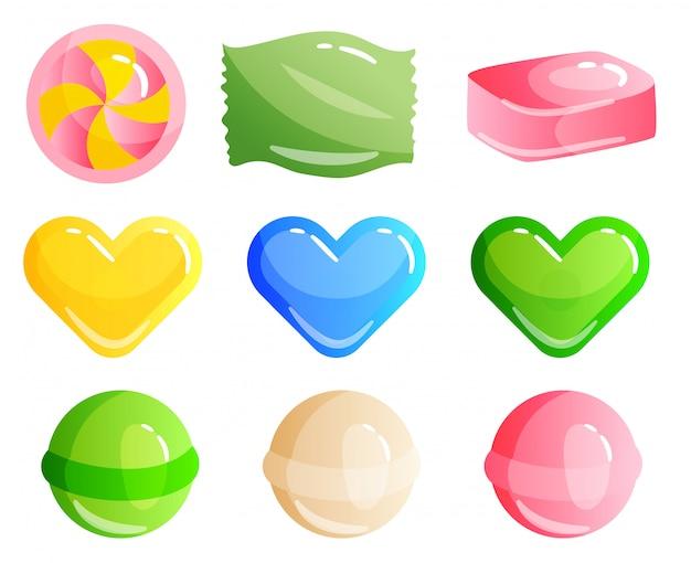 Zestaw słodyczy na białym tle - twardy cukierek i pasek, trzciny cukrowej, lollipop. smacznie pyszne. ilustracja