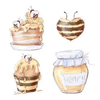Zestaw słodyczy o strukturze plastra miodu. akwarela ilustracja.