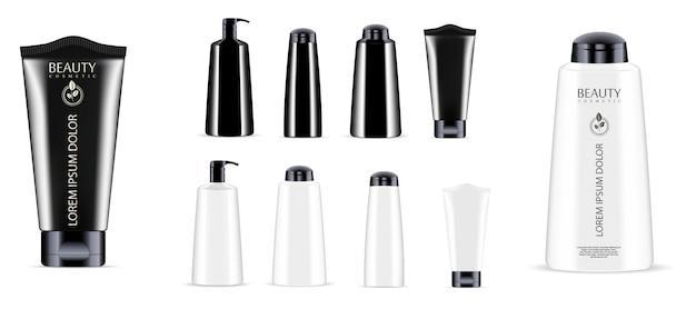 Zestaw słoików do butelek kosmetycznych. dozownik, kroplomierz, tubka
