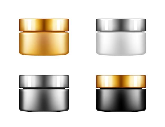 Zestaw słoików kosmetycznych z makietą srebrnej czapki odizolowanej od tła dla balsamu, kremu, proszku