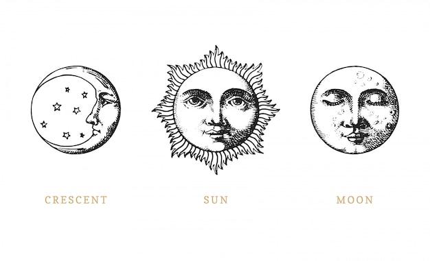 Zestaw słońca, księżyca i półksiężyca, ręcznie rysowane w stylu grawerowania.