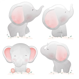 Zestaw słoni kreskówka słodkie dziecko.