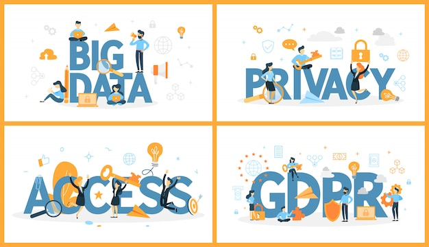 Zestaw słów cyfrowych danych z ludźmi wokół. dostęp i prywatność, duże zbiory danych i rodo. nowoczesna koncepcja technologii komputerowej. ilustracja