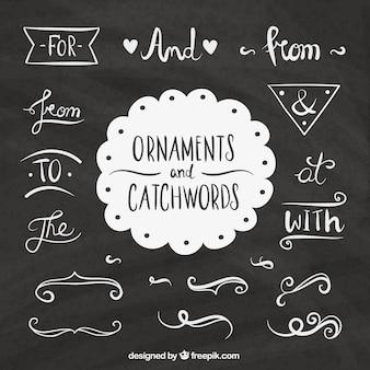 Zestaw słów i ręcznie rysowanych elementów ozdobnych