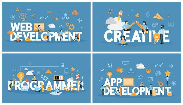 Zestaw słów programistycznych z ludźmi w pobliżu. tworzenie aplikacji i kreatywne myślenie, programowanie strony internetowej. nowoczesna koncepcja technologii komputerowej. ilustracja