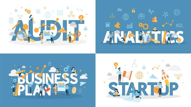 Zestaw słowa biznesowego z małymi ludźmi wokół. audyt i analityka, planowanie i uruchamianie.
