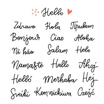 Zestaw słowa cześć w różnych językach liniowa ręcznie rysowane kaligrafia