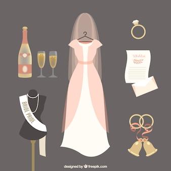 Zestaw ślubnej sukni ślubnych z innymi elementami