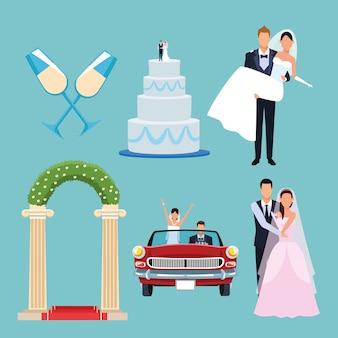 Zestaw ślubny kreskówki