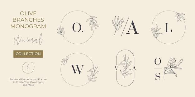 Zestaw ślubny monogram i logo z gałązką oliwną w stylu nowoczesnego minimalnego liniowej. wektor kwiatowy szablony zaproszeń, zapisz datę. ilustracja botaniczna rustykalna, studio urody, spa