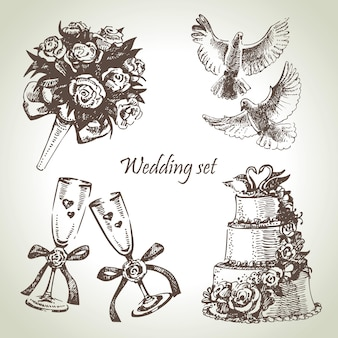 Zestaw ślubny. ręcznie rysowane ilustracja