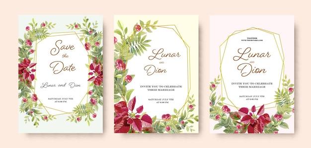 Zestaw ślubny zaproszenie karta vintage bukiet wiśni
