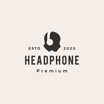 Zestaw słuchawkowy hipster vintage logo ikona ilustracja
