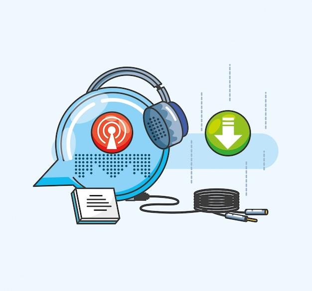 Zestaw słuchawkowy z ikonami cyfrowego studia audio