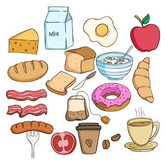 Zestaw smaczne jedzenie śniadanie z kolorowym stylu doodle na białym tle