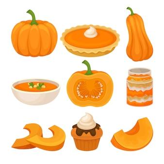 Zestaw smaczne potrawy z dyni, świeże dojrzałe dyni i tradycyjne święto dziękczynienia żywności ilustracja na białym tle
