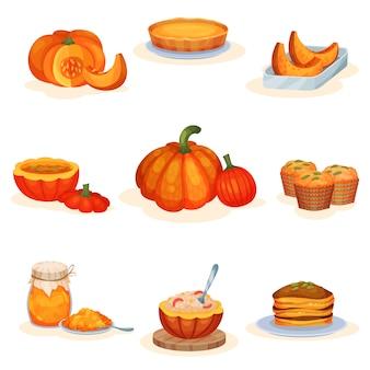 Zestaw smacznych dań z dyni, ciasto, zupa, słoik dżemu, muffinki, owsianka, naleśniki ilustracje na białym tle