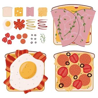 Zestaw smacznych kanapek mięsnych z użytymi dodatkami