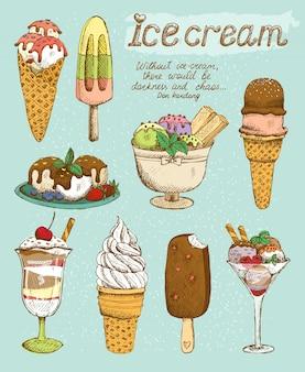Zestaw smacznych lodów