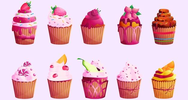 Zestaw smacznych słodkich babeczek lub muffinek. jedzenie ozdobione jagodami, owocami i cukierkami. pyszny deser. ilustracja