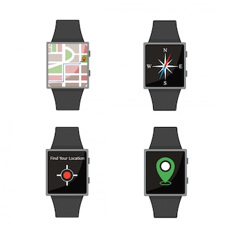 Zestaw smart watch. styl kreskówki. płaskie elementy.