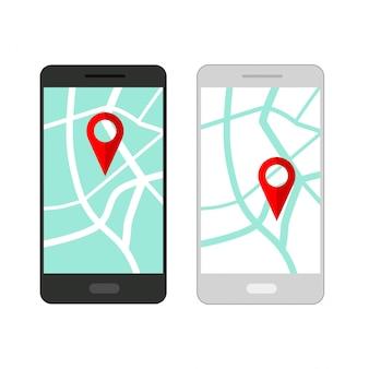 Zestaw smartfona z nawigacją po mapie na ekranie. nawigator gps z czerwoną końcówką. mapa miasta ze znacznikami punktów.