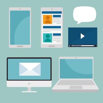 Zestaw smartfona z technologią społecznościową komputera i laptopa