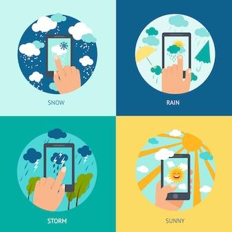 Zestaw smartfonów pogodowych