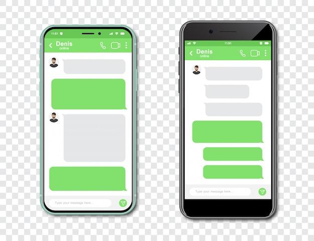 Zestaw smartfonów z pustym komunikatorem czatu. szablon z bąbelkami wiadomość w smartfonie