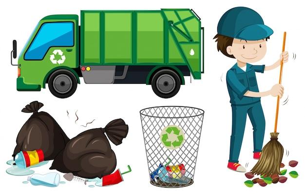 Zestaw śmieciarka i ilustracja janitor