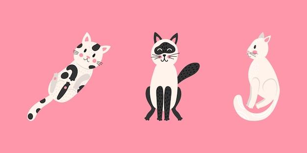 Zestaw śmieszne koty kreskówka. kolekcja nadruków na dziecięce t-shirty i ubrania. na białym tle na różowym tle.