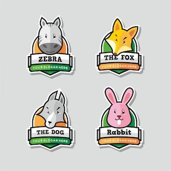 Zestaw śmieszne maskotka logo zwierząt