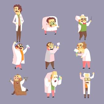 Zestaw śmieszne szalonych naukowców w fartuchach laboratoryjnych