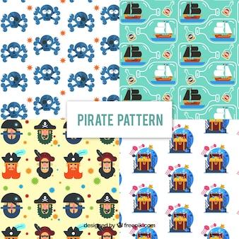 Zestaw śmiesznych wzorów piratów w płaskim stylu