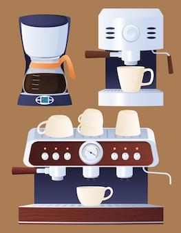 Zestaw śmigłowców domowych i profesjonalnych. robienie kawy. gorący orzeźwiający napój.