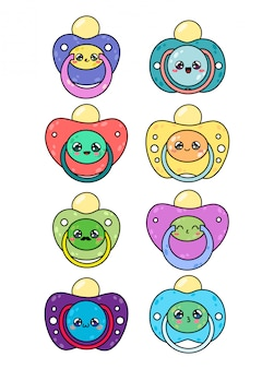 Zestaw smoczków dla dzieci z uroczymi twarzami kawaii. kolekcje sutka noworodka na białym tle
