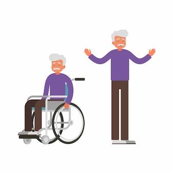 Zestaw smutny stary człowiek siedzi na wózku inwalidzkim i szczęśliwy człowiek stoi z podniesionymi rękami.