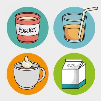 Zestaw śniadaniowy kubek kawy jogurt sok mleczny