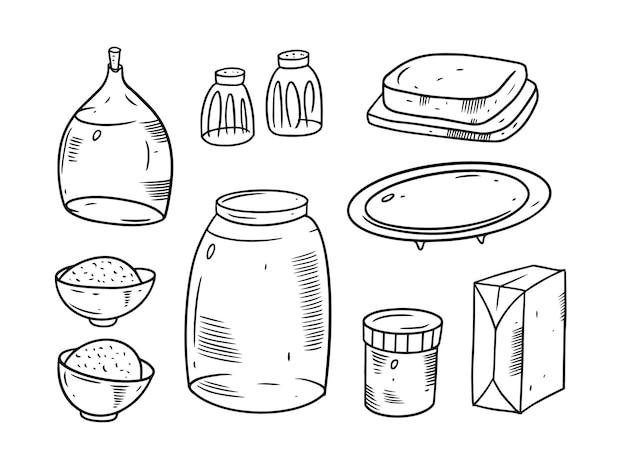 Zestaw śniadaniowy na białym tle