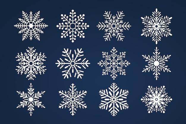 Zestaw snoflakes. wesołych świąt i szczęśliwego nowego roku.