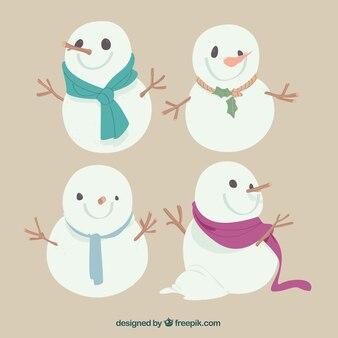 Zestaw snowmen ręcznie narysowany szalikiem
