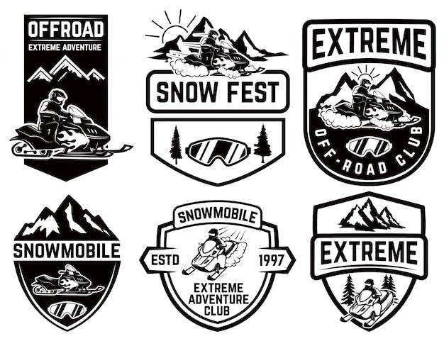 Zestaw snowmobile herby na białym tle. element etykiety, znak marki, znak, plakat. ilustracja