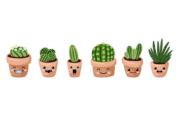 Zestaw soczystych roślin doniczkowych kawaii emotikonów emoji. przytulna kolekcja roślin w stylu skandynawskim w stylu lagom