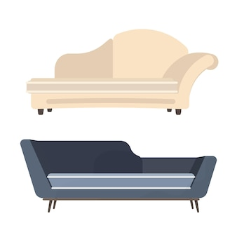 Zestaw sof na białym tle. element do projektowania wnętrz. ilustracja.
