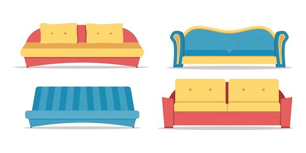 Zestaw sofa na białym tle