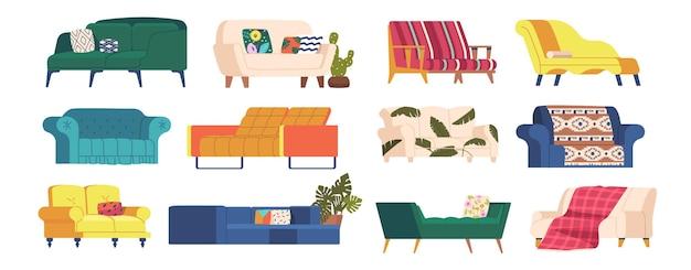 Zestaw sofy i kanapy o różnym wzornictwie, pikowana tapicerka pikowana, podłokietniki, drewniane cienkie nogi i miękkie siedziska. meble w stylu klasycznym, salony wektor kreskówka na białym tle