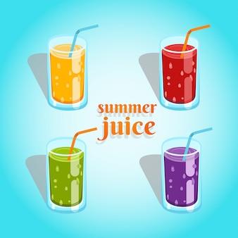 Zestaw soków w czterech kolorach, pomarańczowym, czerwonym, zielonym i fioletowym